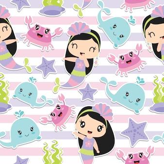 Pattern of cute mermaid girl