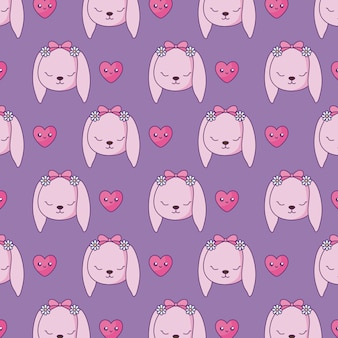 Pattern of cute rabbits with hearts kawaii style