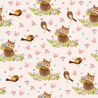Pattern. cute, romantic with owl