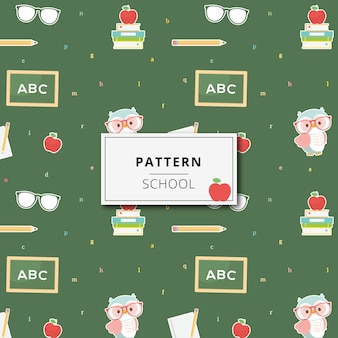 Pattern cute school elements