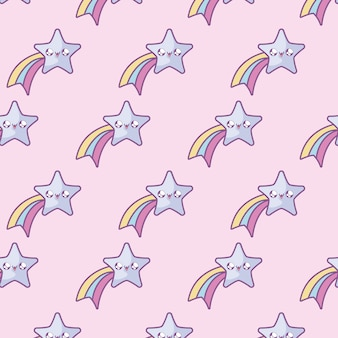 Pattern of cute shooting stars kawaii style
