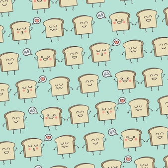 Pattern cute smile toast breakfast background