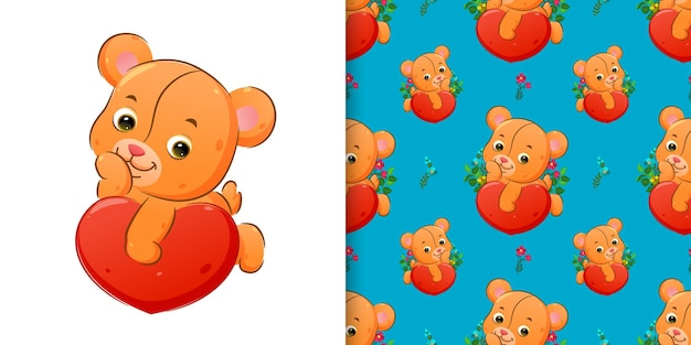 Pattern  of the cute teddy bear lie down on the big heart