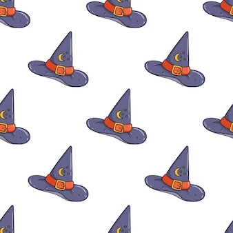 Pattern of cute witch hat isolated on white