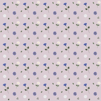 A pattern of delicate flowers and leaves. vector illustration