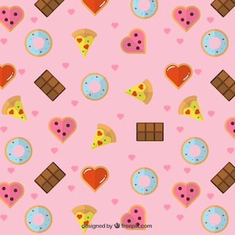 Pattern of delicious food and hearts