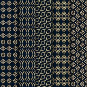パターンデザイン幾何学的なシームレスラインブラックとゴールド