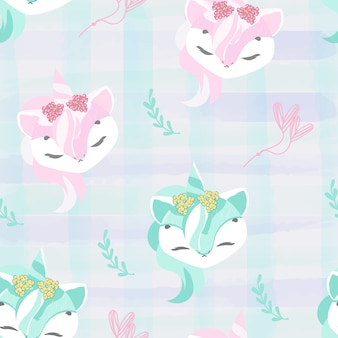 Pattern doodle baby unicorn in watercolor.