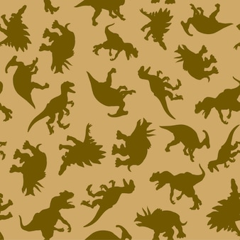 A pattern of drawn realistic silhouettes of dinosaurs in natural colors for print and web. vector illustration.