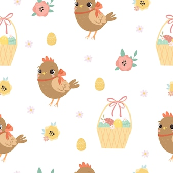 Pattern easter chicken and basket