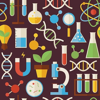 Pattern education science and research objects over dark brown. flat style vector seamless texture background. collection of chemistry biology physics and research templates. back to school.