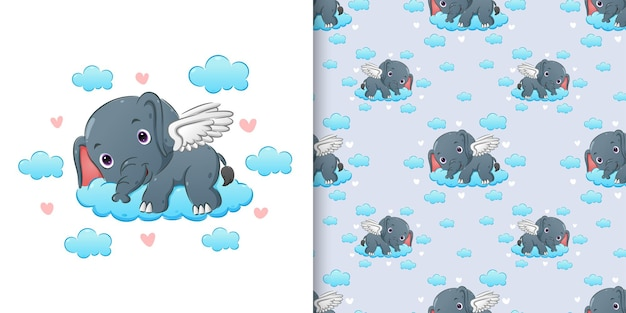 Pattern  of the elephant with the wings lie down on the colored cloud