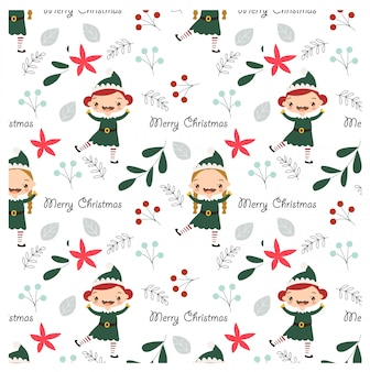 Pattern of elf and christmas elements