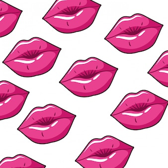 Pattern female lips pop art style