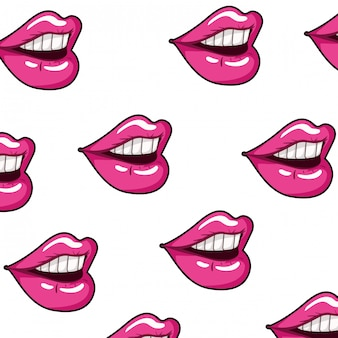 Pattern female mouth pop art style