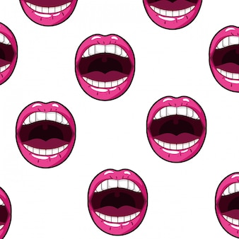 Pattern female mouth pop art style