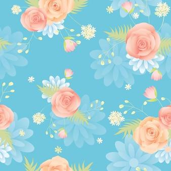 Pattern flower blue background