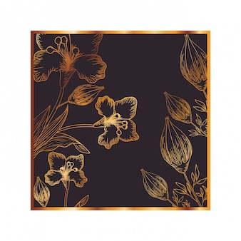 Узор цветы и листья изолированных значок