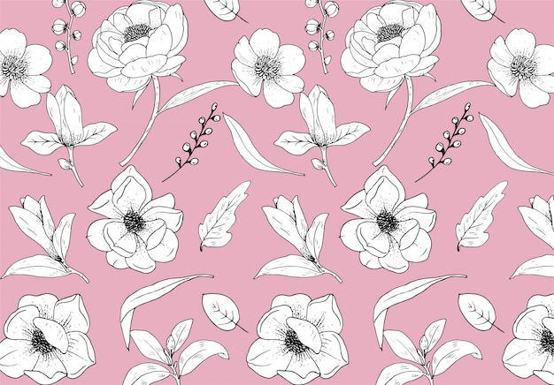 Pattern flowers line art premium
