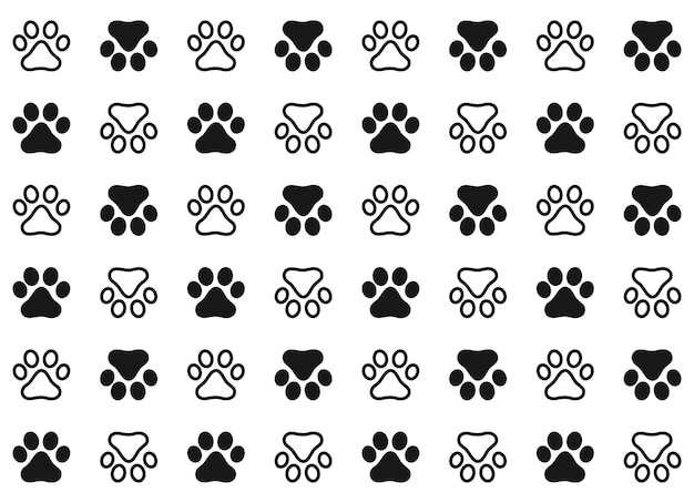 Pattern footprints of a dog or cat. isolated silhouette vector.