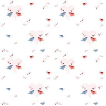 한 쌍의 새와 하트와 함께 사랑의 휴가를 위한 패턴입니다. 벡터 일러스트 레이 션