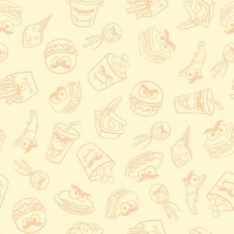 ハロウィーンのモンスターとファーストフードのパッケージのパターン。ベクトルイラスト。