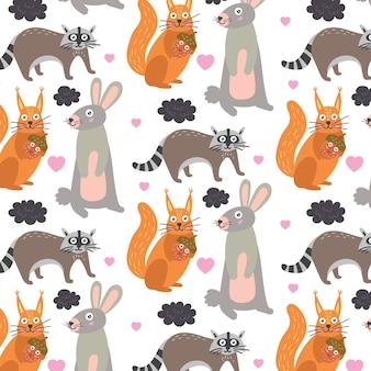 패턴 숲 동물 다람쥐 너구리 토끼. 보육원 장식용 어린이 벽지. 현대 평면 벡터 원활한 그림