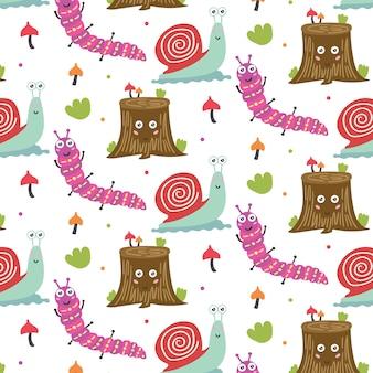 패턴 숲 동물 나무 그루터기 달팽이 애벌레입니다. 보육원 장식용 어린이 벽지. 현대 평면 벡터 원활한 그림