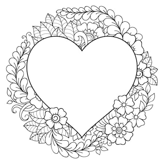Pattern in form of heart   - frame. decorative ornament in ethnic oriental style, indian style.