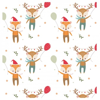 Pattern of fox and deer in christmas festival theme