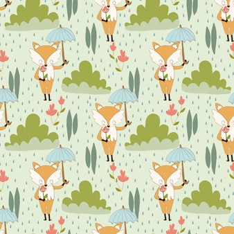 Pattern of fox and flower in the rain