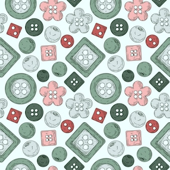 Pattern from a set of buttons for sewing.