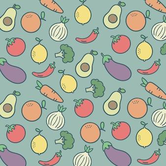 Шаблон фруктов и овощей красочный фон