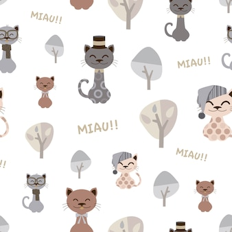 Pattern of funny cats with hats.