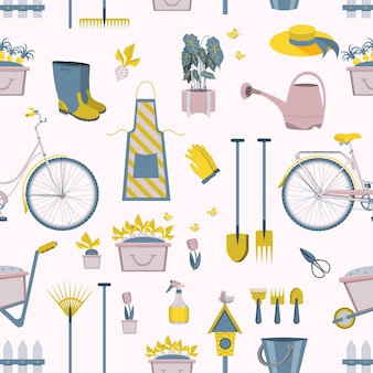 Pattern of gardening tools icons of farming or farmer garden household.