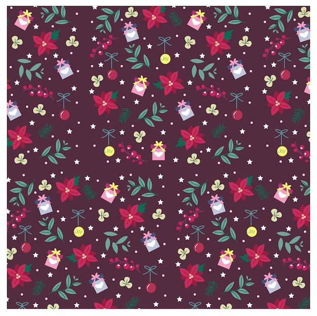 Pattern of gifts and floral for christmas concept