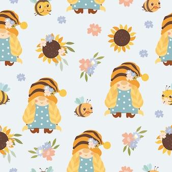 パターンの女の子のノームとミツバチ