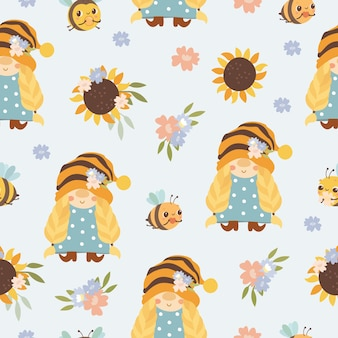 Pattern girl gnome and bees