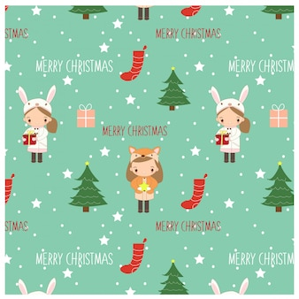 Pattern of girls and christmas elements