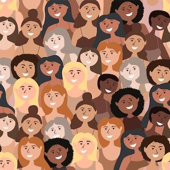 さまざまな国籍の女の子をパターン化する