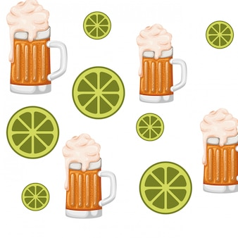 Pattern glass with beer isolated icon