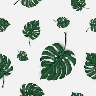 Pattern of green palm leaves seamless background