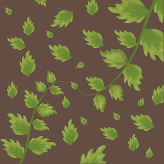 Pattern of green tropical leaves over brown