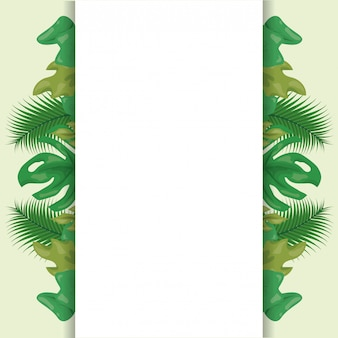 Pattern of green tropical leaves with blank space