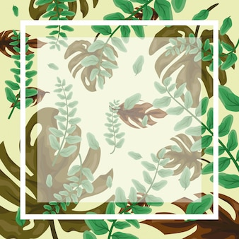 Pattern of green tropical leaves with frame and blank space to insert text or design