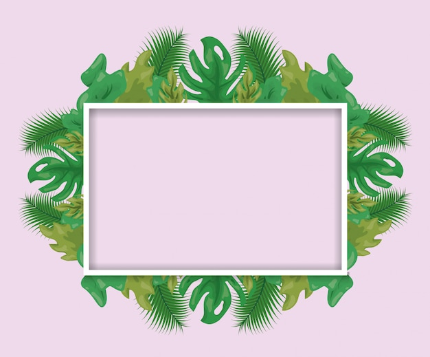 Pattern of green tropical leaves with frame