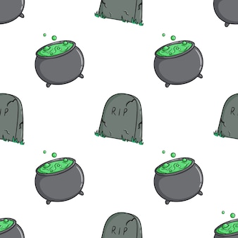 Pattern of halloween cauldron and grave icons