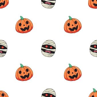 Pattern of halloween pumpkin and mummy