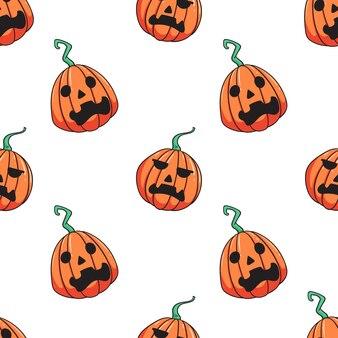 Pattern of halloween pumpkin on white
