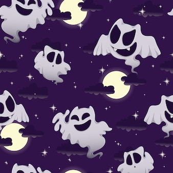 Pattern for halloween with funny ghosts, moon, sky and stars.